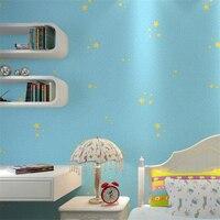 Beibehang Cute Children S Cartoon Wallpaper Dark Blue Light Blue Little Star Night Sky 3D Bedroom