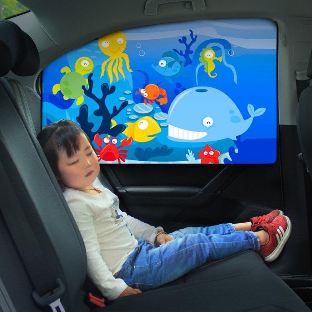 Energiek Magnetische Auto Side Window Zonnescherm Gordijnen Verstelbare Auto Styling Auto Windows Zonneklep Dier Patroon Jaloezieën Cover Zonnescherm Geselecteerd Materiaal