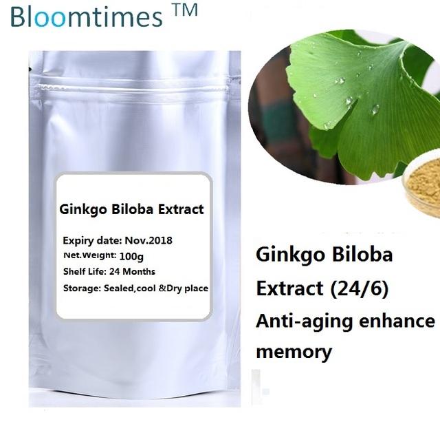 Natural Extrato de Ginkgo Biloba (24/6) 100 g/saco Anti-envelhecimento melhorar a memória