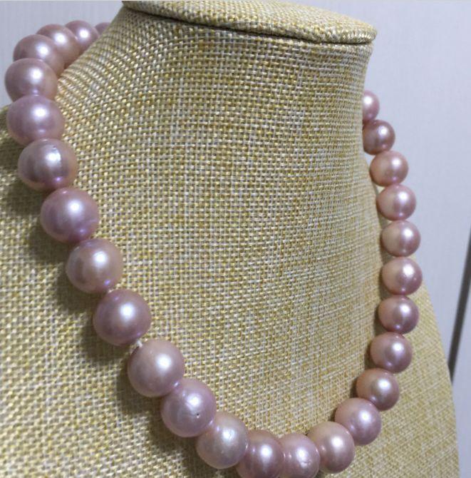 Enorme gorgeous11-12mm rotonda dacqua dolce lavanda collana di perle 18 inch 14 k/20Enorme gorgeous11-12mm rotonda dacqua dolce lavanda collana di perle 18 inch 14 k/20