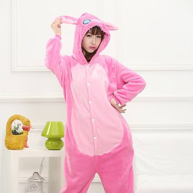 Blue Pink Stitch Pajama Set Women Men Unisex Adult Animal Pijama Flannel Onesie  Sleepwear Hoodie Halloween Cosplay Costume