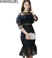Kobiety Luksusowe Party Black Dress 2018 Jesień Runway Falbany Koronki Patchwork Dot Mesh Hollow Out Bodycon Długim Rękawem Mermaid Suknie