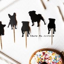 Силуэт собака кекс топперы/мопс пользовательские собака породы Свадебные Pet дни рождения Baby Shower партии лечить пищевой выбирает Photo Booth опора