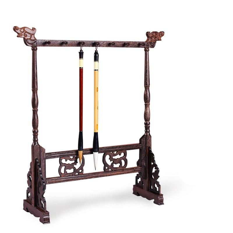 Luxury Calligraphy Brush Holder Solid Ebony Wood Traditional Chinese Painting Writing Penholder 12 Hangers Study Brush Rack