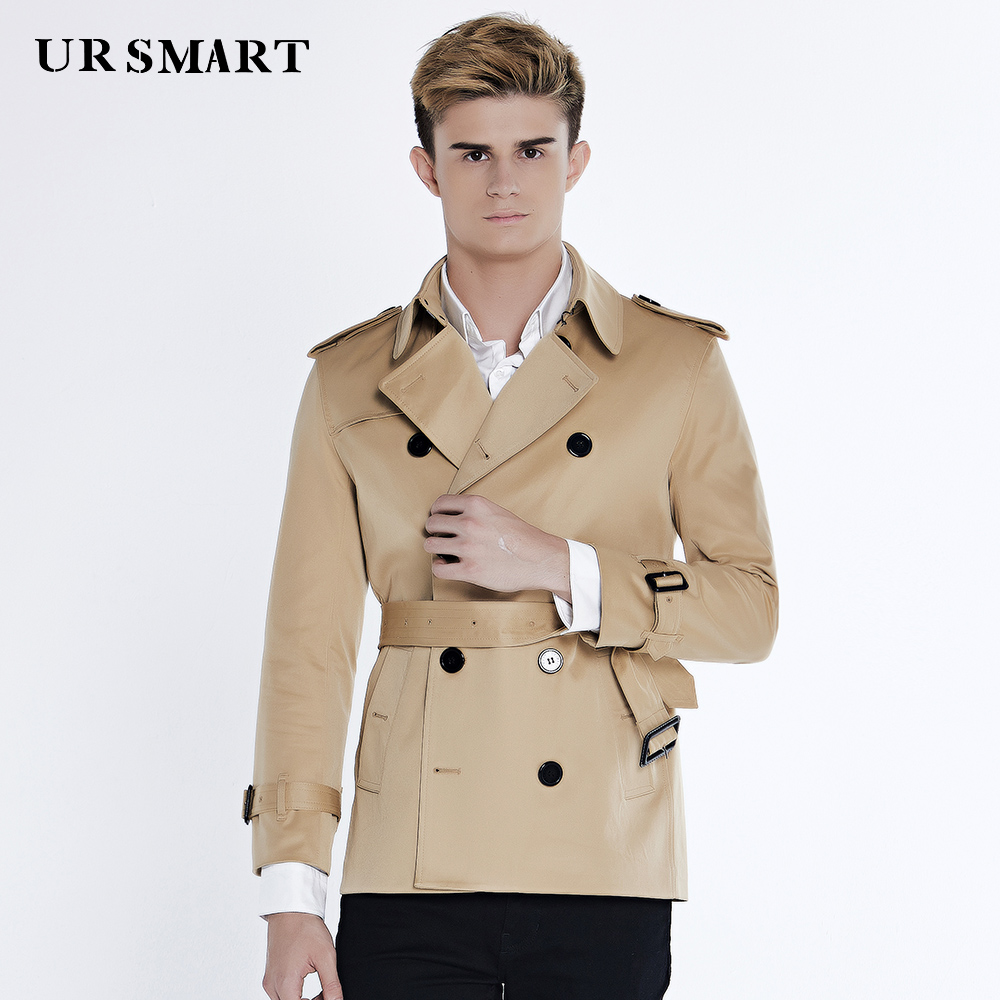 Ursmart Double-breasted Trench Coat Short Male Autumn New Fashion Men's Windbreaker Honey Yellow Coat Dust Coat