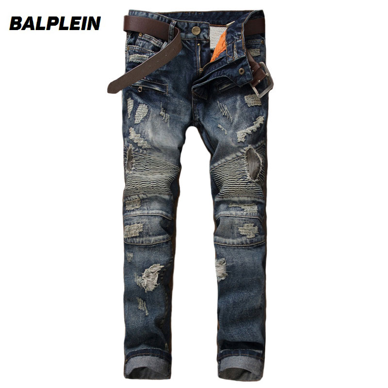 Balplein Brand Men Jeans Vintage Retro Designer Motor Ripped Jeans Homme High Street Fashion Denim Destroyed Biker Jeans Men new stainless steel 304 mesh 4 047 wire cloth screen filter 16 x16 40cm x 40cm