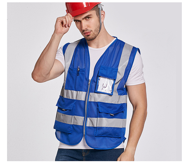 Construction Blue Reflective Vest With Pockets Free Shipping