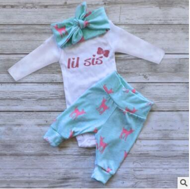 2018 new arrival hot sale baby clothing set 3pcs animal print newborn cotton clothing fashion girls