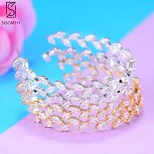 SisCathy Fashion Big Circle Cubic Zircon Party Hoop Earrings For Women Wedding Jewelry Retro Round Hoop Statement Earrings недорого