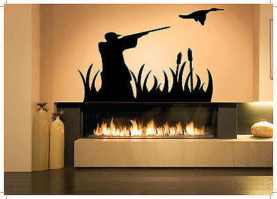 hunter vinyl wall decal hunter man hunting duck bird gun mural art wall sticker living room bedroom decorative home decoration - Hunting Bedroom Decor