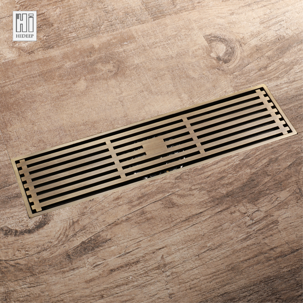 HIDEEP Antique Bronze Rectangle Drains Floor Drain Bathroom Shower Drain Cover Copper Brass Kitchen Filter Strainer Drainer free shipping antique bronze bath craved floor drain bath washing drainer