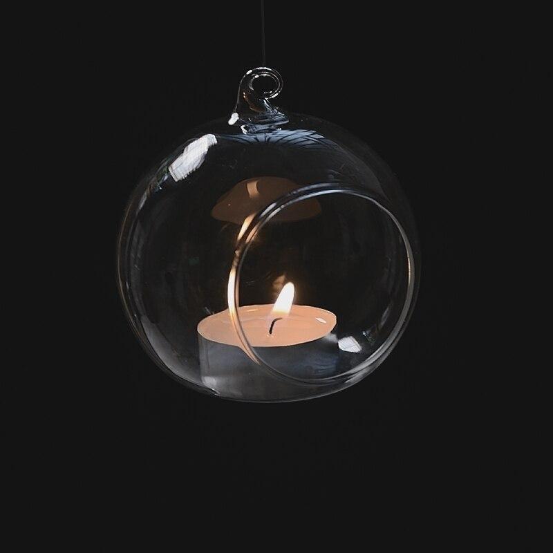 Скандинавский стеклянный подсвечник прозрачная безделушка насадка шар держатель свечи Круглый-6 см держатель для чайной свечи подвесные свечи