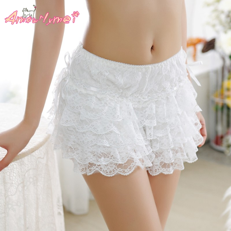 Amourlymei Women Sexy Lace   Shorts   Elastic Waist Bottoming   Shorts   Cute Japanese Style Mori Girl Lolita