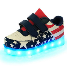 Best selling USB Charging Children Shoes with Light Fashion Stars Glowing Shoes 7 Color Luminous Kids