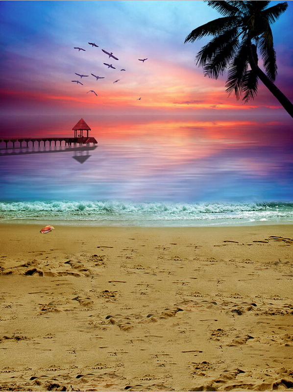 Seascape Scenery Vinyl Cloth Sunset Palm Tree Sea Beach