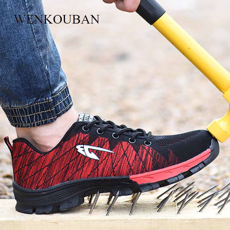 Men Work Safety Boots s Steel Toe Cap Work Shoes Men Outdoor Anti slip Steel Puncture Proof Construction Safety Botas Hombre
