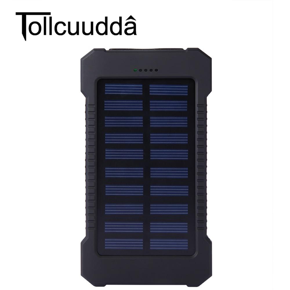 Impermeabile 10000 mah Solare Accumulatori e caricabatterie di riserva Portatile Caricatore Solare Dual USB Accumulatori e caricabatterie di riserva Batteria Esterna Powerbank Batteria Del Telefono del Caricatore