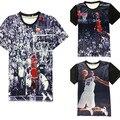2016 novos homens/mulheres T-shirt da novidade 3D impressão Jordan último tiro do jogo all-star t shirt camisetas topos de verão plus size
