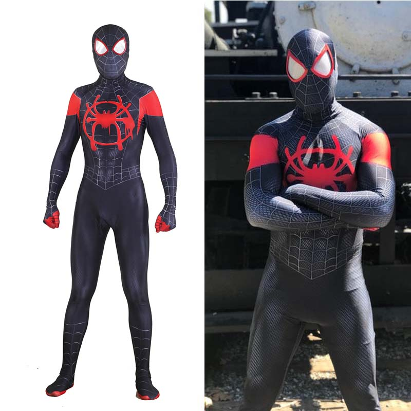Movie Spider-Man:Into The Spider-Verse Jumpsuit Cosplay Miles Morales 3D Printed Bodysuit Adult Halloween Spiderman Costume