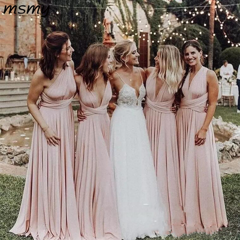 Light Pink V-Neck Long Bridesmaid Dresses 2019 Ruched Floor Length Maid Of Honor Dress Wedding Guest Dress