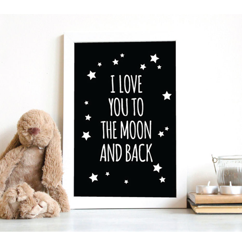 I Love You To The Moon and Back Classic Quotes Canvas Painting Nursery Wall Art Black and White Poster Kids Room Decor unframed