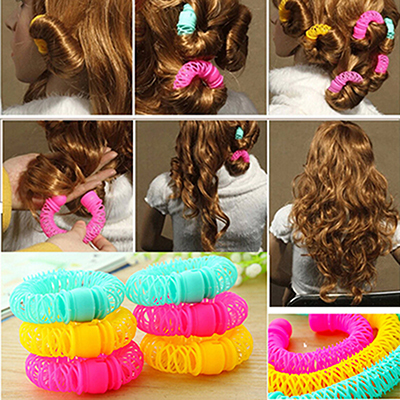 Fashion 8pcs Magic Hair Curler Spiral Curls Roller Donuts Curl Hair Styling Tool Hair Accessories