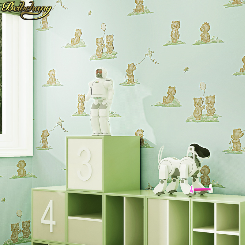 beibehang Ecofriendly Cartoon Cute Bear Print Wallpaper roll Kids Bedroom Decor Wall paper Non-woven Mural Papel de Parede 3d beibehang roll papel mural modern luxury pattern 3d wall paper roll mural wallpaper for living room non woven papel de parede