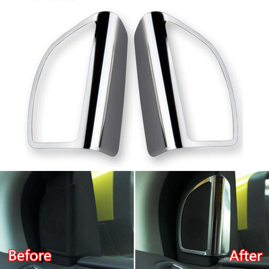 YAQUICKA 2Pcs/set Car Door Audio Stereo Speaker Frame Trim Cover Styling Sticker Fit For Ford Focus 2012 Chrome ABS