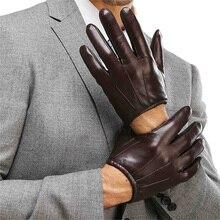 Luvas de couro genuíno dos homens da forma casual luva de pele carneiro preto marrom cinco dedos estilo curto masculino luvas de condução m017pq2