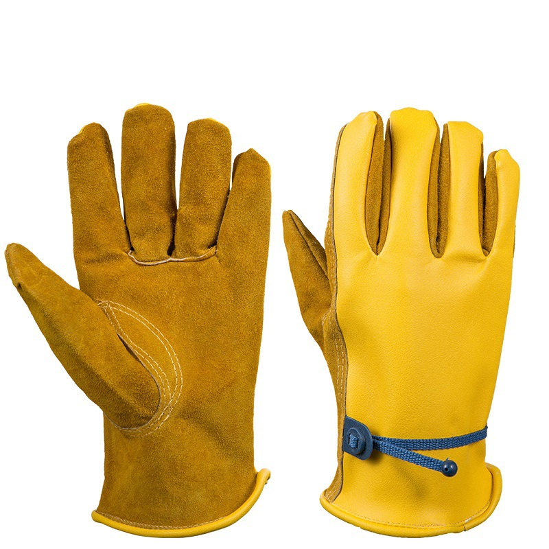 OZERO Work Gloves Safety Garden Gloves Leather Welding Protective Gloves For Glass Handling Shop Floor Operations