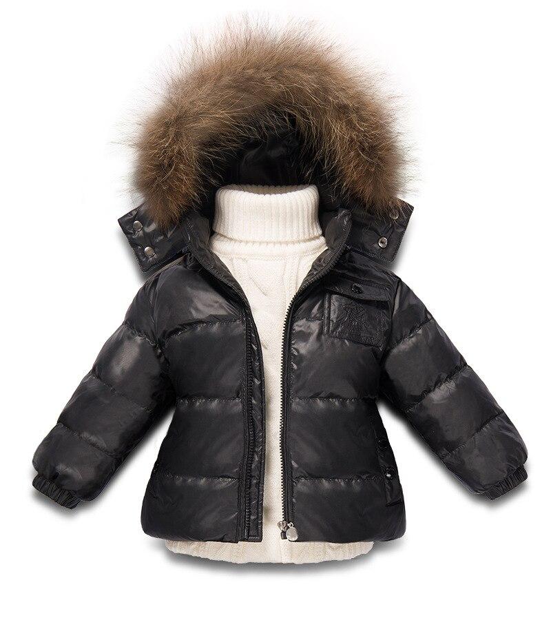Новый стиль 2018 зимние парки для девочек и мальчиков с природный енот меха Утепленная зимняя куртка для девочек Зимняя одежда детская одежда