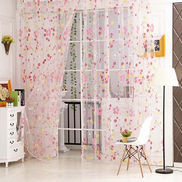 Voile Sheer Curtain Burnout Flower Tulle Panel French Window Balcony Tulle Room Divider Curtains Blinds Scarf Drapes