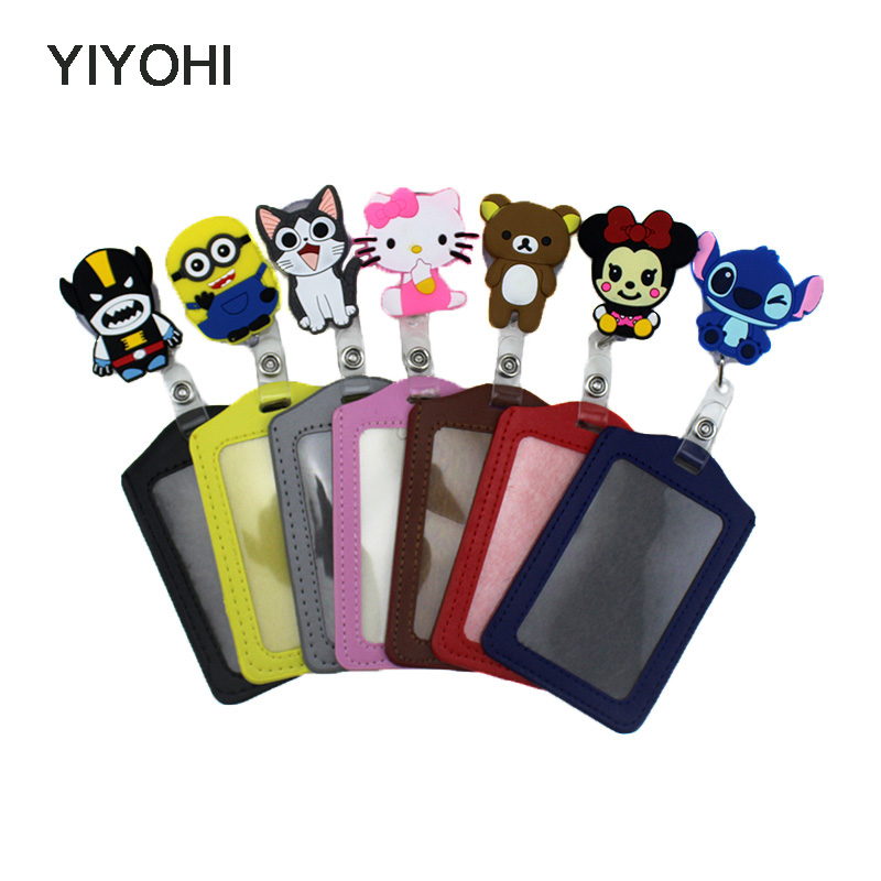 YIYOHI Cute Silicone card case holder Bank Credit Card Holders Card Bus ID Holders Identity Badge with Cartoon Retractable Reel hot portable silicone bus card case holder cute cartoon kitty cat care student id identity badge credit cards cover with lanyard