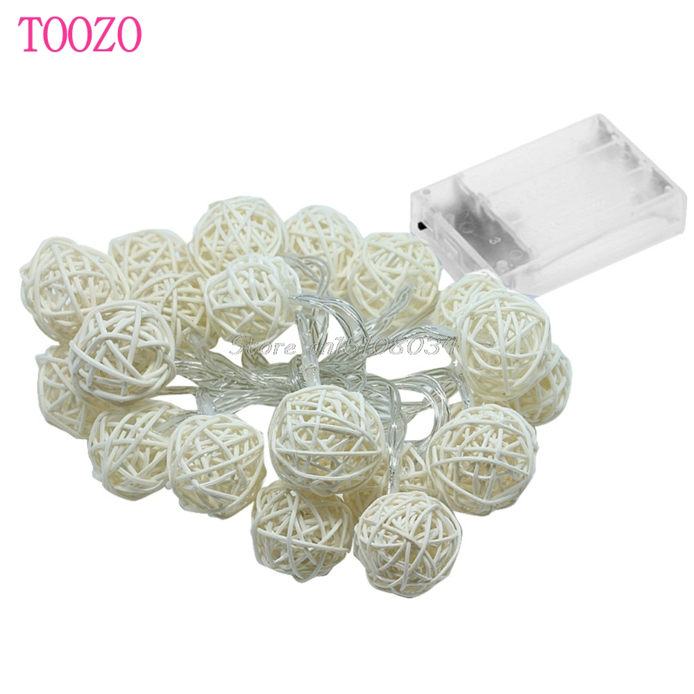 20LED Rattan Ball Battery String Fairy Lights Xmas Party Wedding ...