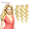 Blonde indio onda del cuerpo 3 unids mucho barato pelo virginal indio extensiones de cabello humano otros colores para la opción