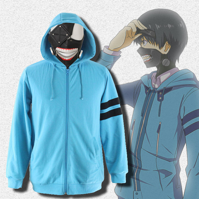 Cos Tokyo Ghoul Ken Kaneki Cosplay Costume with Mask Hoodie Clothes Cotton
