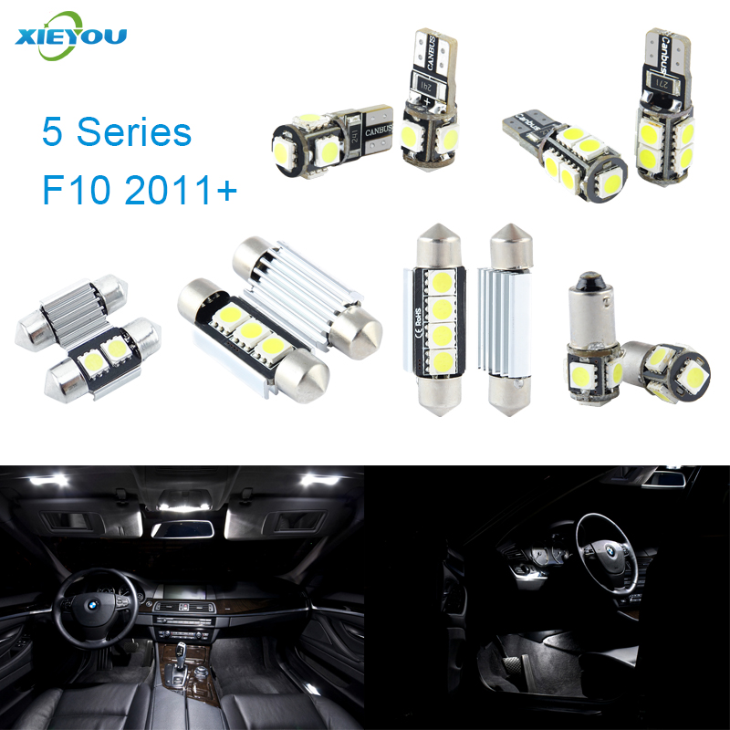 XIEYOU 19pcs LED Canbus Interior Lights Kit Package For BMW 5 Series F10 (2011+) 17pcs led canbus interior lights kit package for bmw 5 series e60 e61 2004 2010