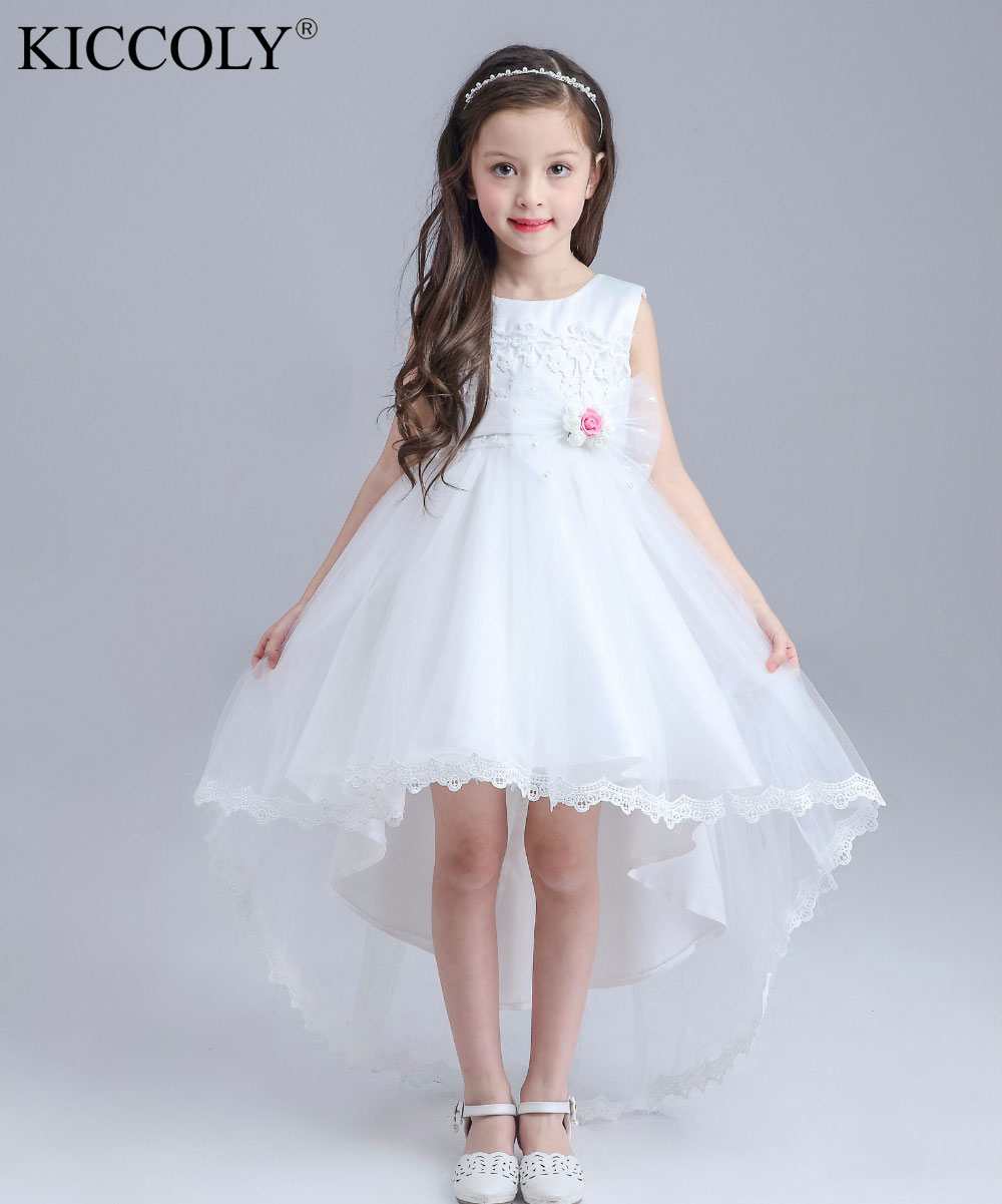 купить Formal Lace Girl Communion Party Prom Princess Pageant Bridesmaid Wedding Flower Girl Dress with Full Length Long Train дешево