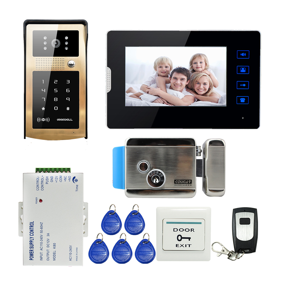 FREE SHIPPING 7 Touch Key Monitor Video Door Phone Intercom System Metal RFID Keypad Outdoor Doorbell IR Camera Electric Lock touch key 7lcd wired touch key rfid password video door phone doorbell intercom system ir camera with remote control