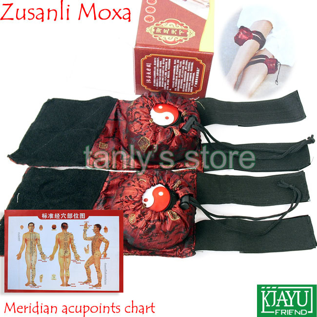 New Type! Zusanli moxibustion device (2 pieces moxa box+2pieces cloth bag)/set health product Gift Chart