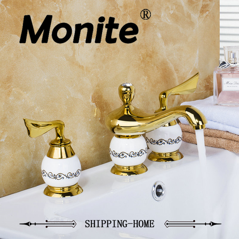 Gold Plated Bathroom Faucet European Deck Mounted Polished Golden 3PCS Set Bathtub Shower Basin Mixer Tap Faucet free shipping polished chrome finish new wall mounted waterfall bathroom bathtub handheld shower tap mixer faucet yt 5333