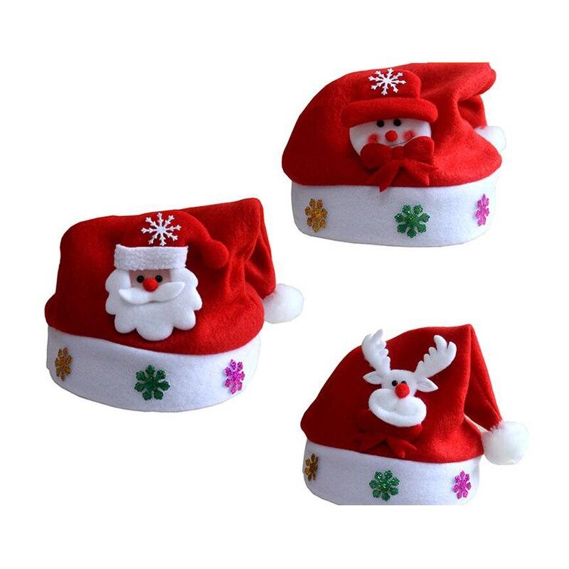 цена на 2016 Christmas Hats for Children Santa Snowman Reindeer Kids Hat Christmas Gifts Mew Year Gift