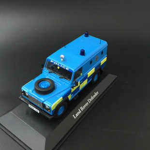 New Die Casting Alloy 1:43 Blue Police Car Land Rover Defender Alloy Car Model Home Collection Decoration Children's Toys