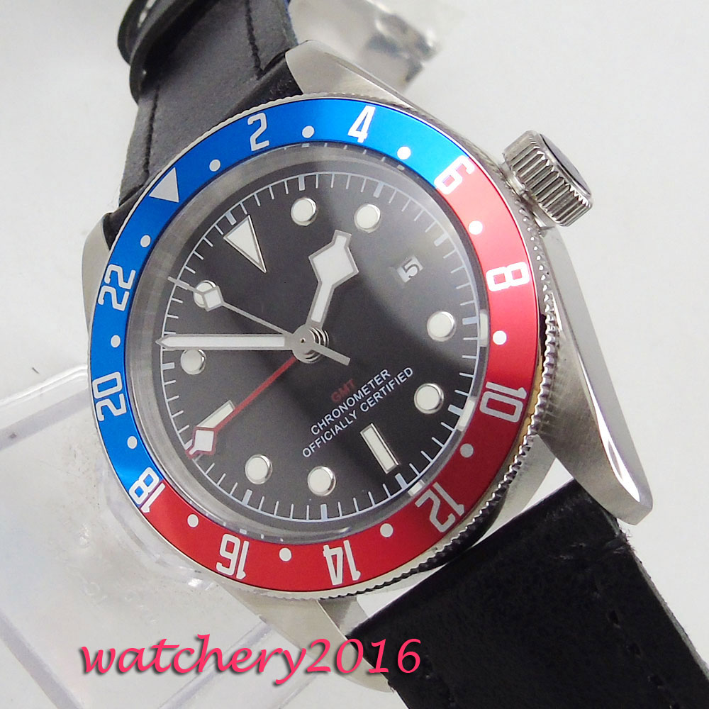 41mm Sterile Black Dial Sapphire Glass GMT Red & Blue Rotating Bezel Luminous Calendar Steel Case Automatic Movement mens Watch41mm Sterile Black Dial Sapphire Glass GMT Red & Blue Rotating Bezel Luminous Calendar Steel Case Automatic Movement mens Watch
