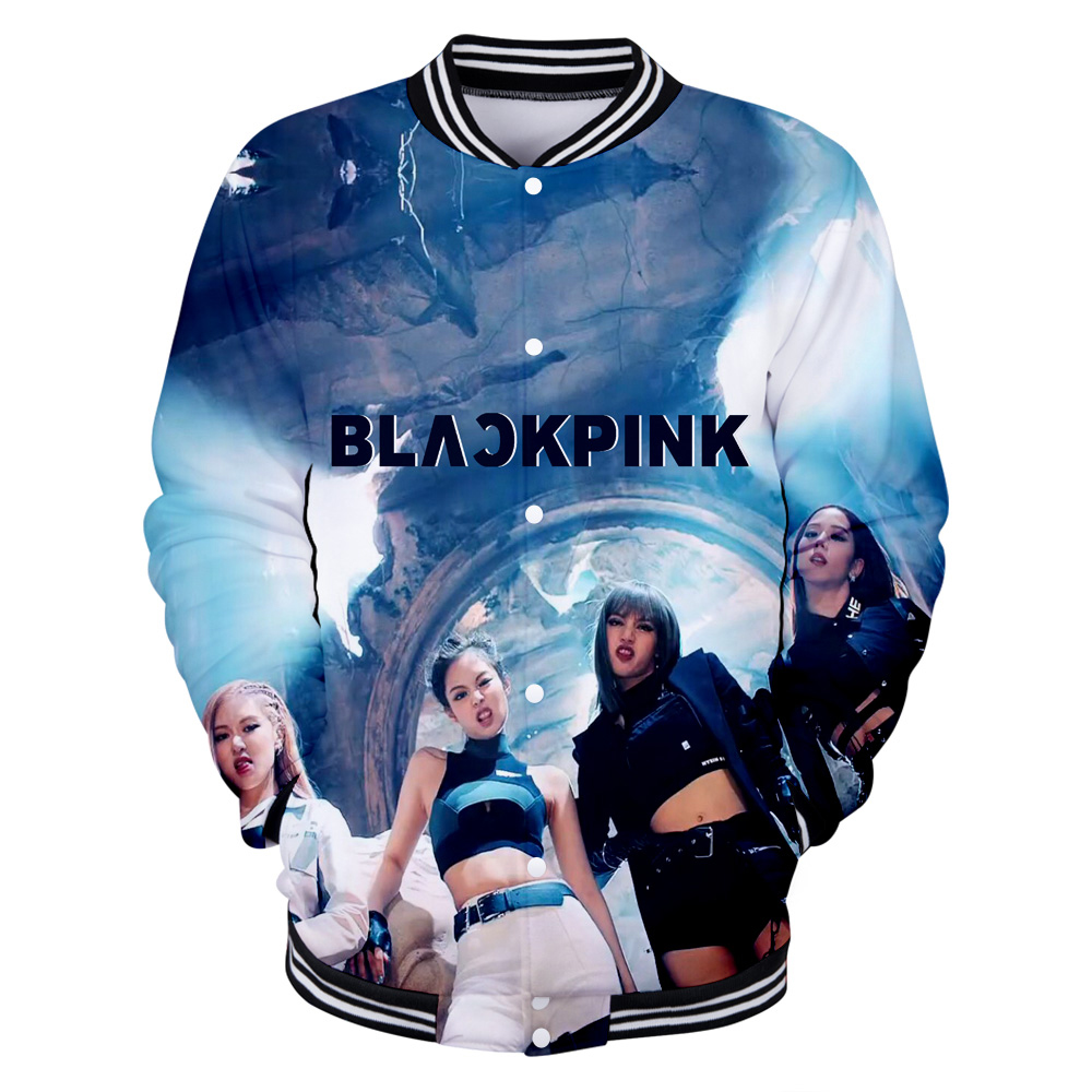 Korean Idol Blackpink print Baseball   Jacket     Basic   Popular 3D Street High Street Fashion HIP HOP Classic Sports Baseball   Jacket