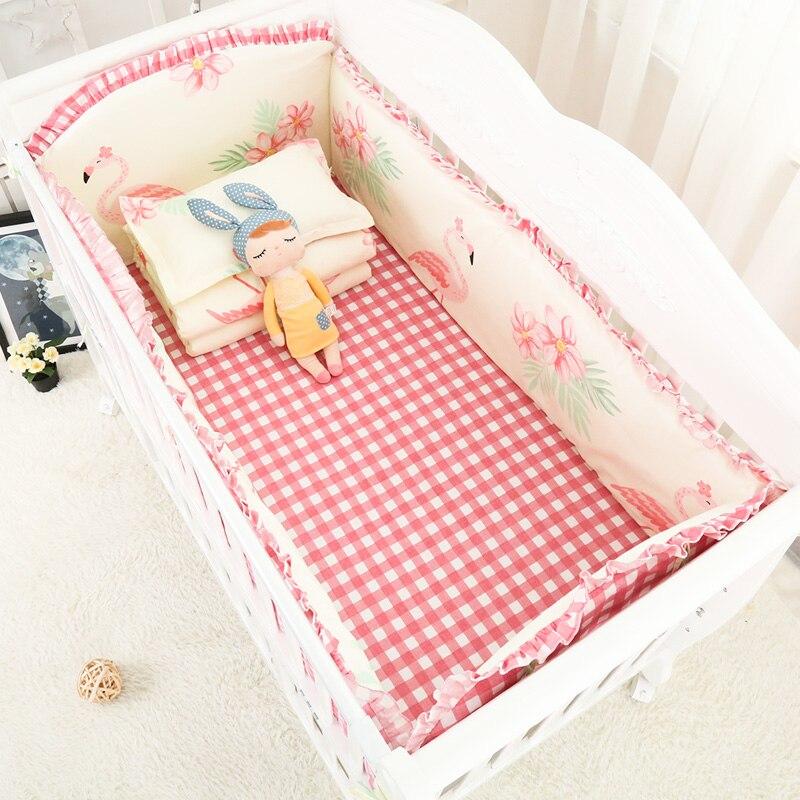 Dessin animé rose flamants roses bébé fille literie paquet sûr lit 100% coton belle berceau ensembles de literie pare-chocs et draps 6 pièces