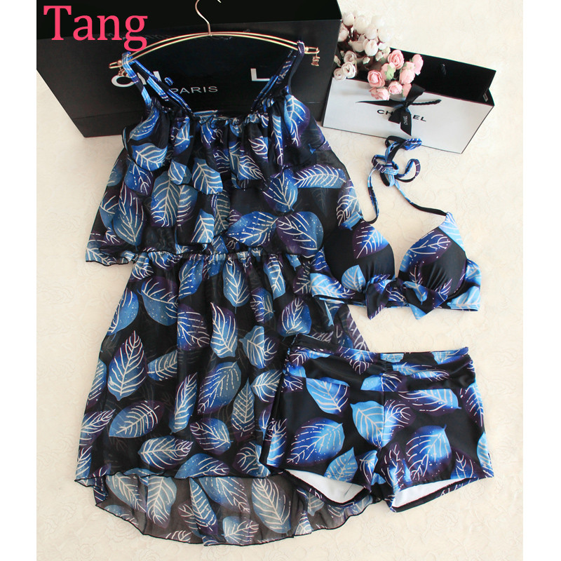 ФОТО STAR MENG resort spa bathing suit girl three piece bikinis conservative boxer flounces cover belly gather significant chest