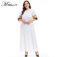 MISSJOY Large Size White dresses for women 2018 Summer O neck Tassel Patchwork elegant Lady Casual Party Maxi dress with pockets