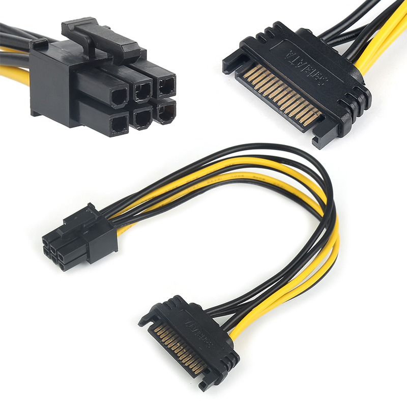 1 Pcs 20cm SATA Converter Adapter Video Power Supply Cable Video Power Cable 15 Pin To 6 Pin PCI EXPRESS PCI-E Card SATA Cable