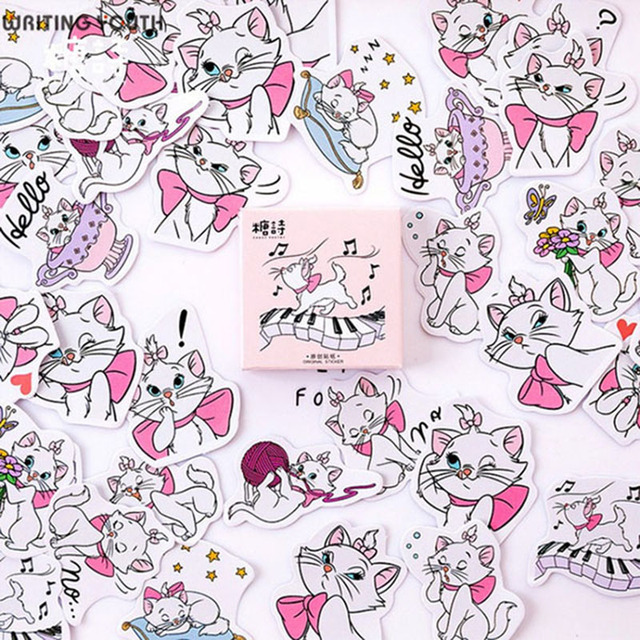 Lindos animales gato bala diario pegatinas Scrapbooking DIY diario pegatinas suministros papelería regalo suministros